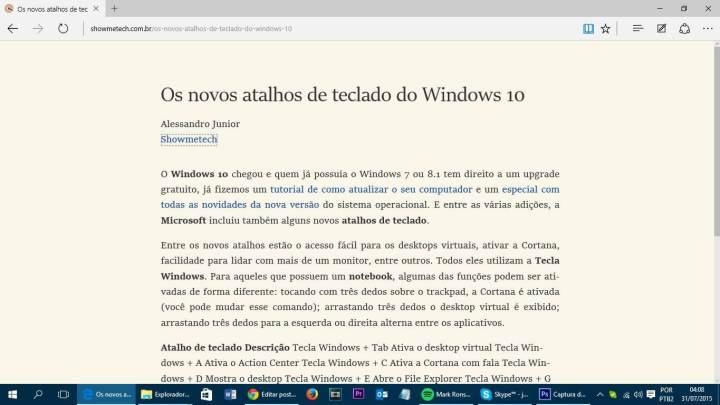 Modo de leitura Windows 10 (Reprodução/Julian Leno)