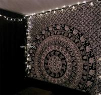 Black and White Elephant Mandala Tapestry Wall Hanging