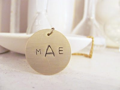 how to-sday . stamped metal monogram pendant
