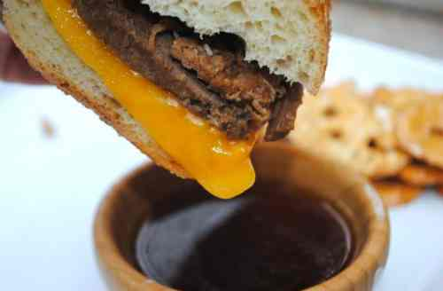 Slow Cooker French Dip Sandwiches. Perfect weeknight dinner recipe!