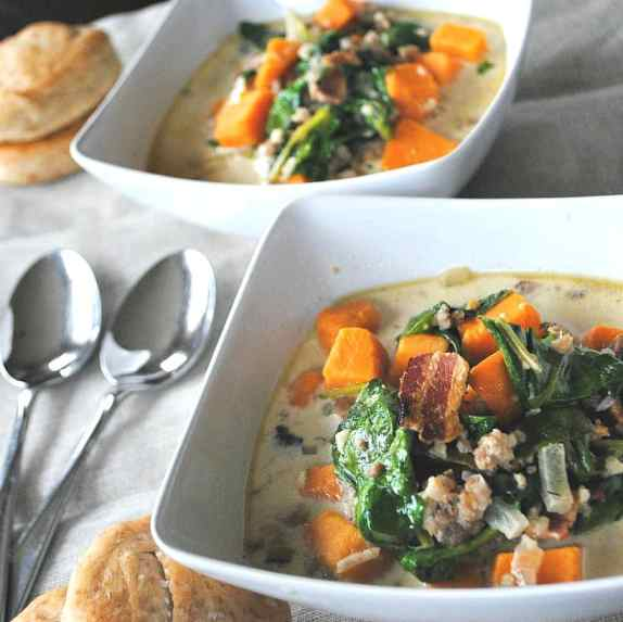 Sausage, spinach and sweet potato soup with Rye bran rolls