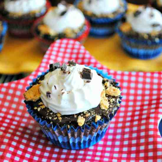 S'more Cupcakes: chocolate cupcakes with chocolate ganache, marshmallow frosting and graham cracker crumbs