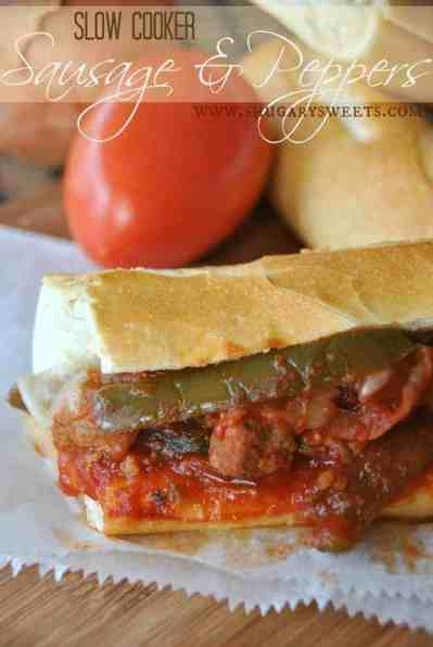 Slow Cooker Sausage and Peppers: delicious, hearty meal made in your #crockpot #dinner www.shugarysweets.com