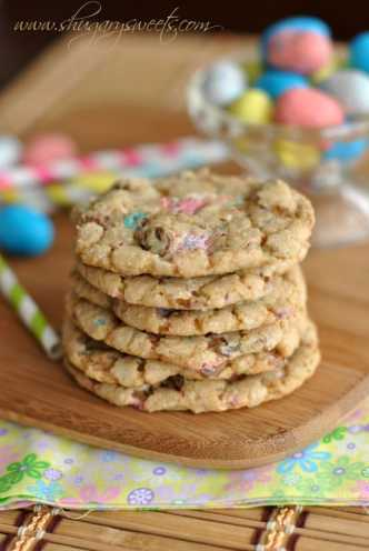 Malt Ball Cookies made with #robinseggs #whoppers You will love how chewy these cookies taste! @shugarysweets