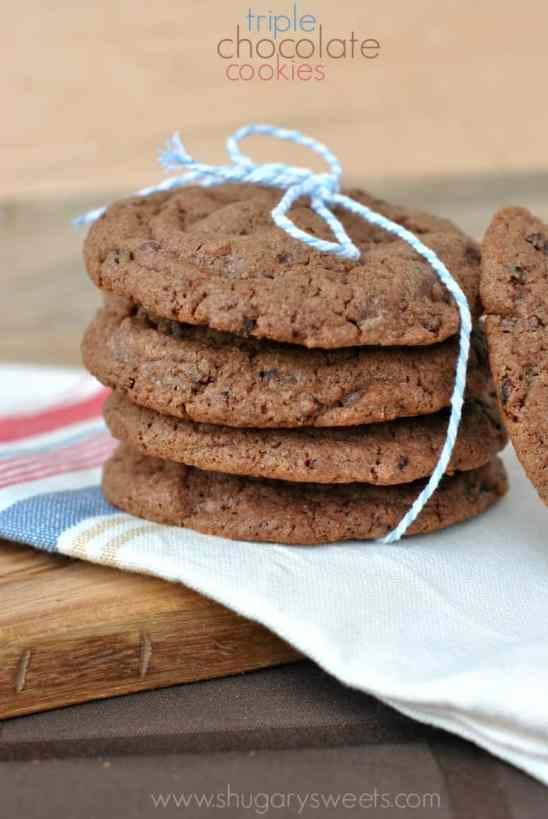 Triple Chocolate Cookies with Cocoa Nibs. Chewy, fudgy and perfect for your next chocolate craving!