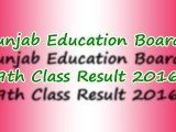 Punjab Boards 9th Class Result 2016