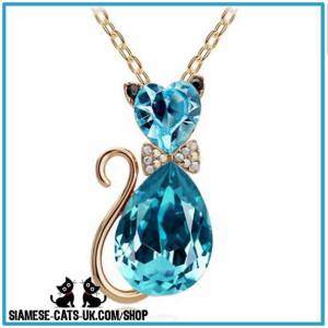 blue crystal cat necklace