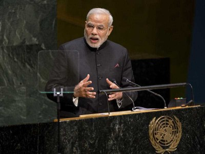 Indian Prime Minister Narendra Modi addresses the 69th United Nations General Assembly at UN headquarters, 27 Sept, 2014. (Photo: AAP)