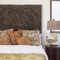 Lotus Carving Wall Art Bed Headboard, Carved Headboard Queen