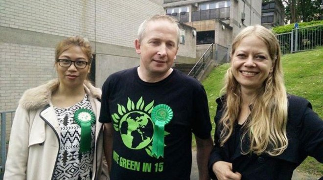 Pete Elliot with Sian and local activist Alex