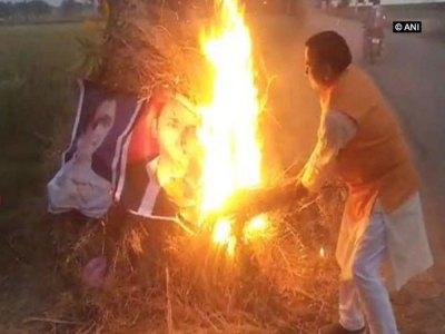 Case lodged against BJP leader for burning posters of Mayawati, Akhilesh during 'Holika Dahan'