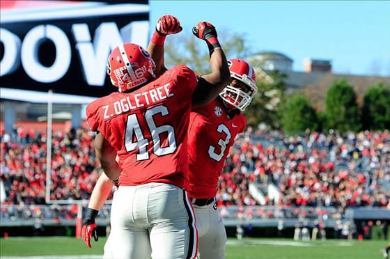 Zander Ogletree (46) and Todd Gurley (3)