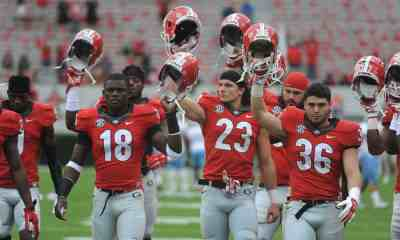 Georgia players during the Bulldogs' game with the Southern University Jaguars at Sanford Stadium in Athens, Ga., on Saturday, Sept. 26, 2015. (Photo by Sean Taylor)