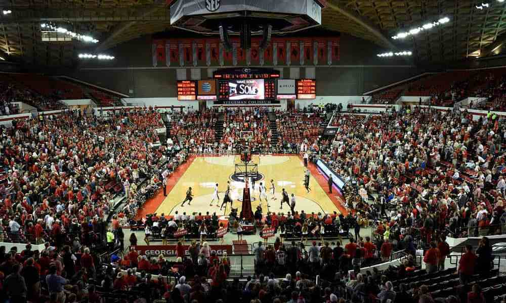 Fans cheer on the Bulldogs during the final moments of their game against the South Carolina Gamecocks at Stegeman Coliseum on Tuesday, Feb. 2, 2016, in Athens, Ga. (Photo by David Barnes)