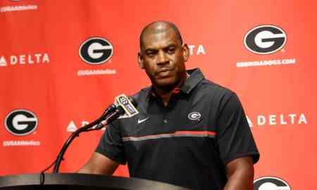 Georgia defensive coordinator Mel Tucker speaks during a press conference at Butts-Mehre Heritage Hall in Athens, Georgia, on Saturday, August 6, 2016. (Photo/David Barnes)