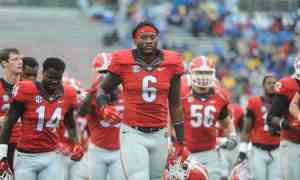 Georgia linebacker Natrez Patrick (6) runs off the field during the Bulldogs' game with the Southern University Jaguars at Sanford Stadium in Athens, Ga., on Saturday, Sept. 26, 2015. (Photo by Sean Taylor)