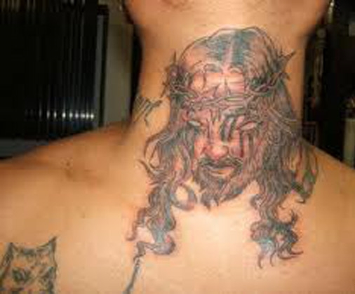 Weird Bad Jesus Tattoo - Evil Jesus
