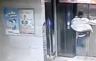 Chinese Man Flying Kick Elevator