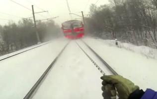 Russian Skis Train Tracks