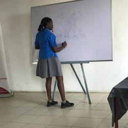 A student of Alpha Beta demonstrating her knowledge.