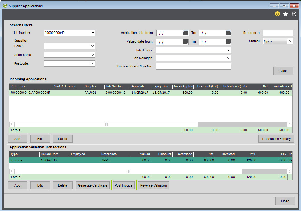 Construction Manager Help \ User Guide Sicon Ltd - when invoice is generated