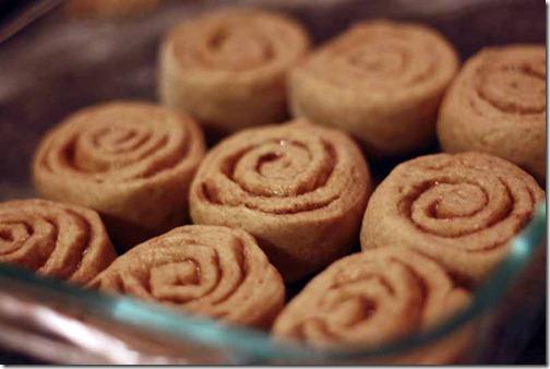 baking cinnamon buns for breakfast
