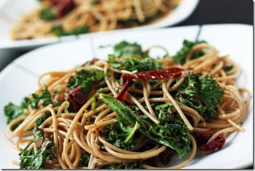 recipe for angel hair with sun dried tomatoes and kale