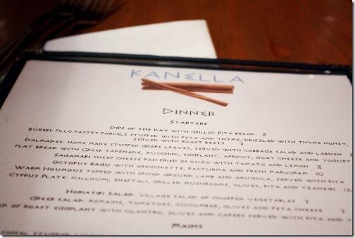 kanella dinner menu