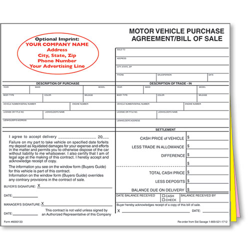 Custom Imprinted Bill of Sale Style #1 Car Sale Forms