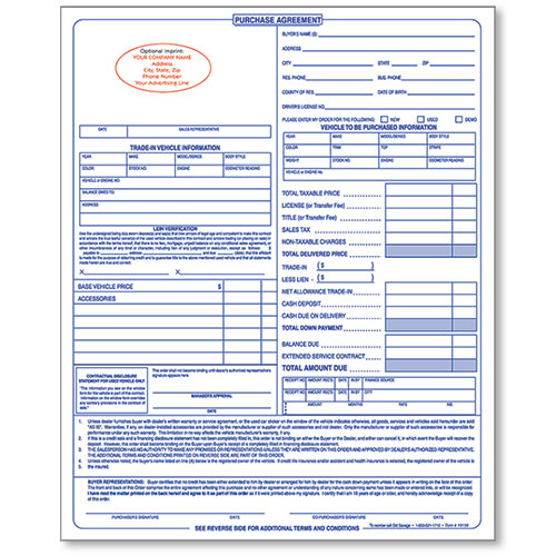 Custom Imprinted Purchase Agreement Auto Dealer Forms