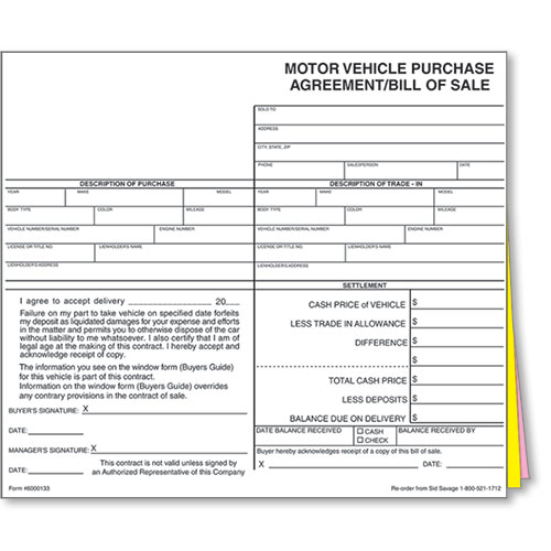 Auto Dealer Bill of Sale Forms - Style 1 Dealership Forms - bill of sales forms