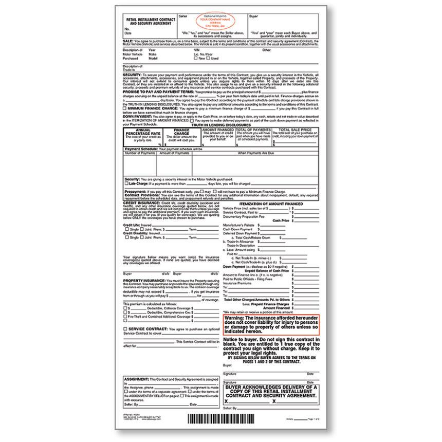 Custom Imprinted Retail Installment Contract Auto Dealer Forms - installment sales contract