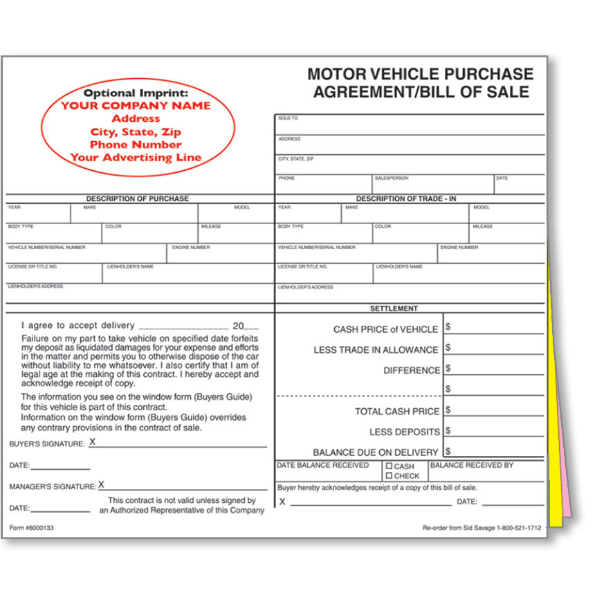Car Dealer Bill of Sale, Imprinted Dealer Forms, Car Bill of Sale - auto purchase agreement template