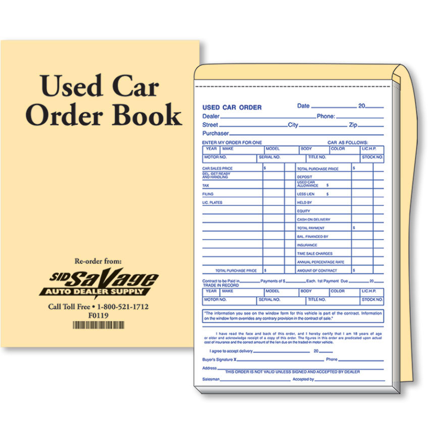 Used Car Order Forms Car Sale Forms - Auto Dealer Forms