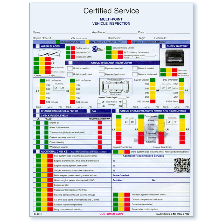 GM Certified Vehicle Inspection Forms Auto Dealer Forms - vehicle inspection form