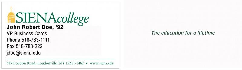 Siena Business Card order form Siena College