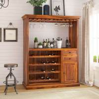 Houston Handcrafted Solid Wood Wine Bar Cabinet with Glass ...