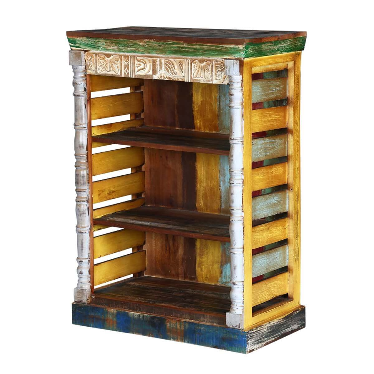 Rustic Art Multi Color Reclaimed Wood Book Shelf