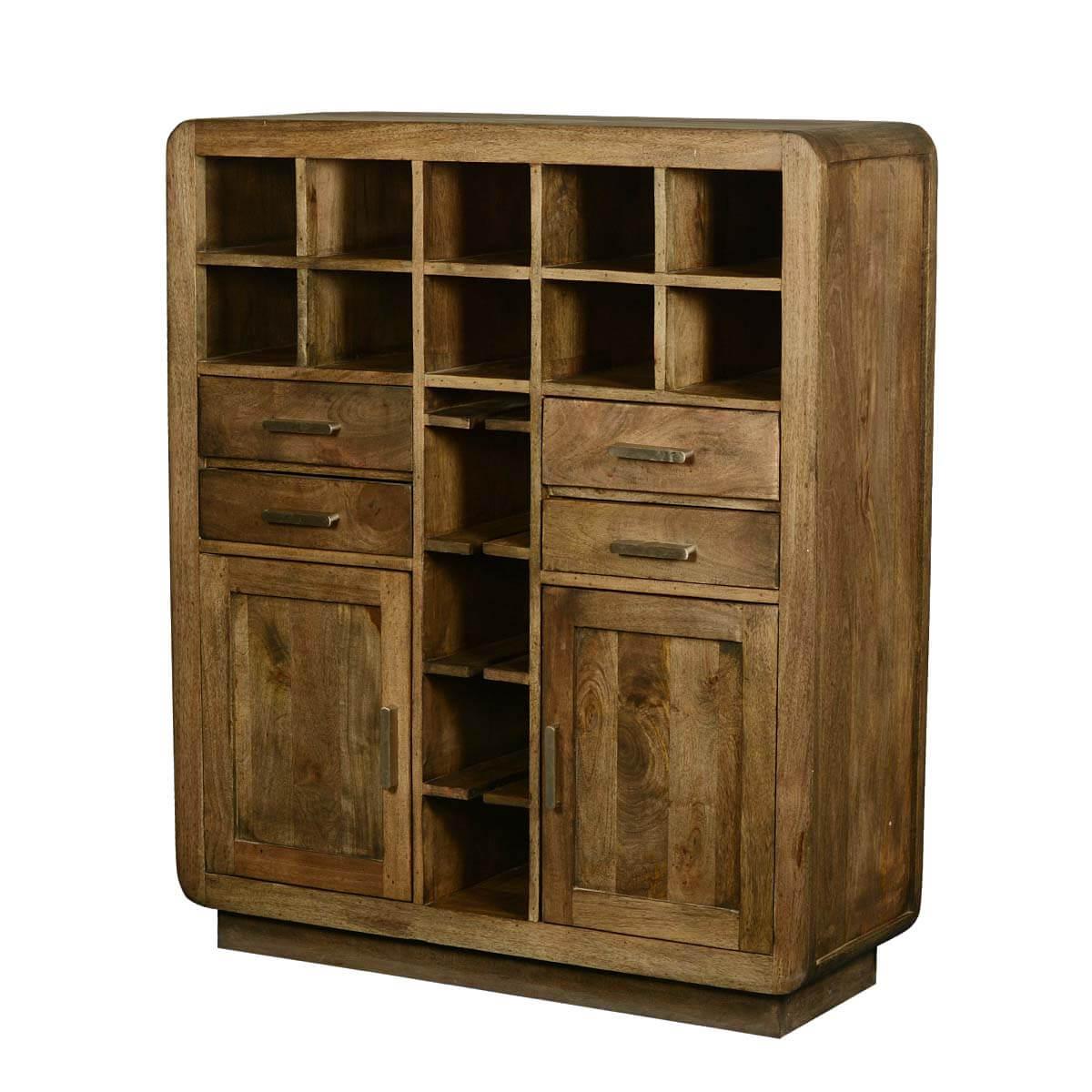 Devon Modern Rustic Solid Wood Glass Holder Wine Rack Bar