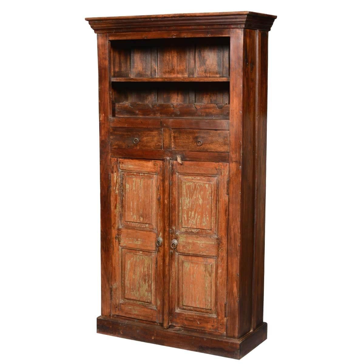 "Rustic Reclaimed Wood 71"" Tall Wine Rack Liquor Storage"