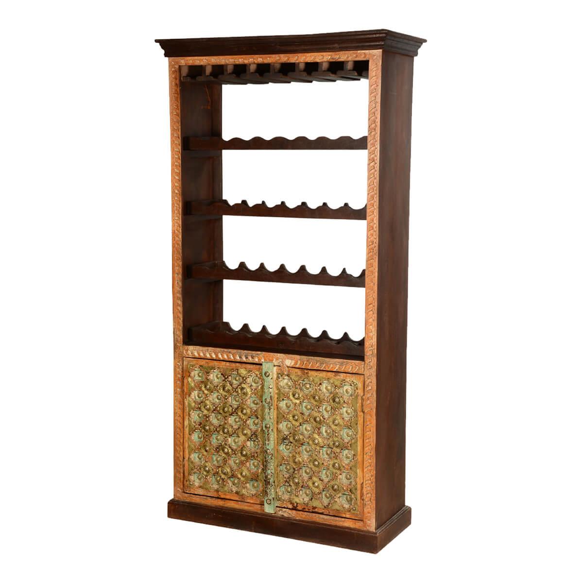 Lodi Golden Diamonds Brass Inlay Mango Wood Tall Wine Rack