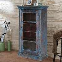 Midnight Distressed Blue Mango Wood Glass Door Curio ...