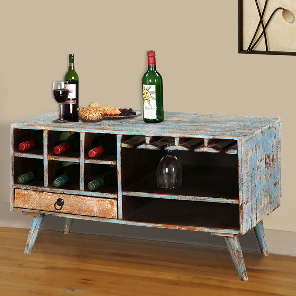 Travis Trail Open Storage Wine Rack Console Table With