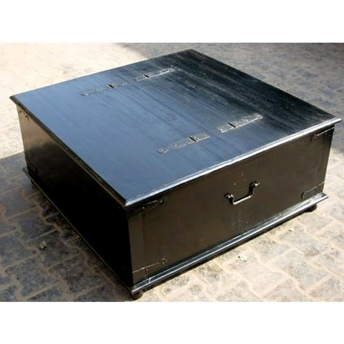 Casual Square Rosewood Black Storage Box Trunk Chest