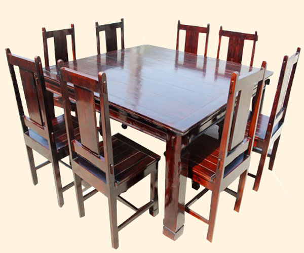Cherry 9 Pc Square Wood Dining Kitchen Table And Mission