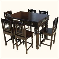 Unique 7Pcs Pub Counter Height Wood Kitchen Dining Room ...