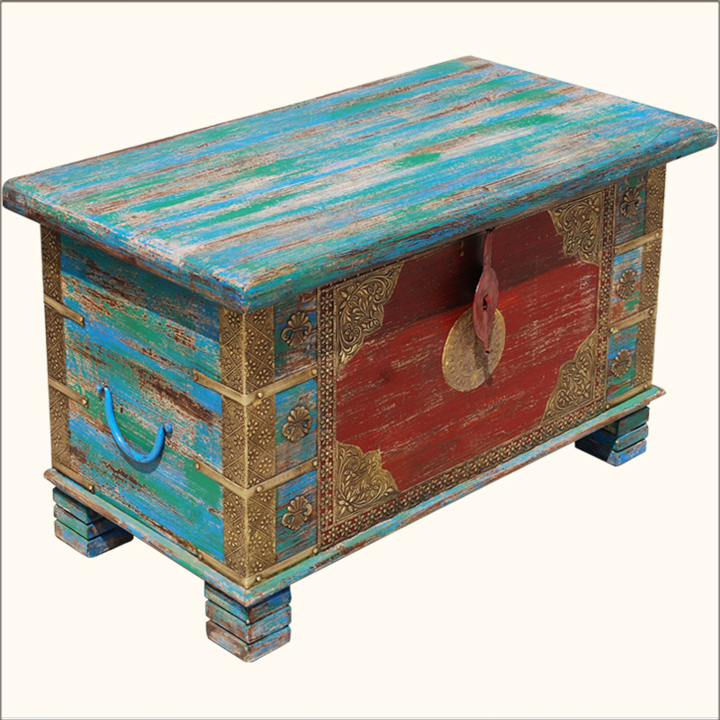 Hand painted brass inlay iron amp wood storage box trunk coffee table