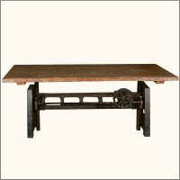 Unique Industrial Iron Base Reclaimed Teak Wood Trestle ...