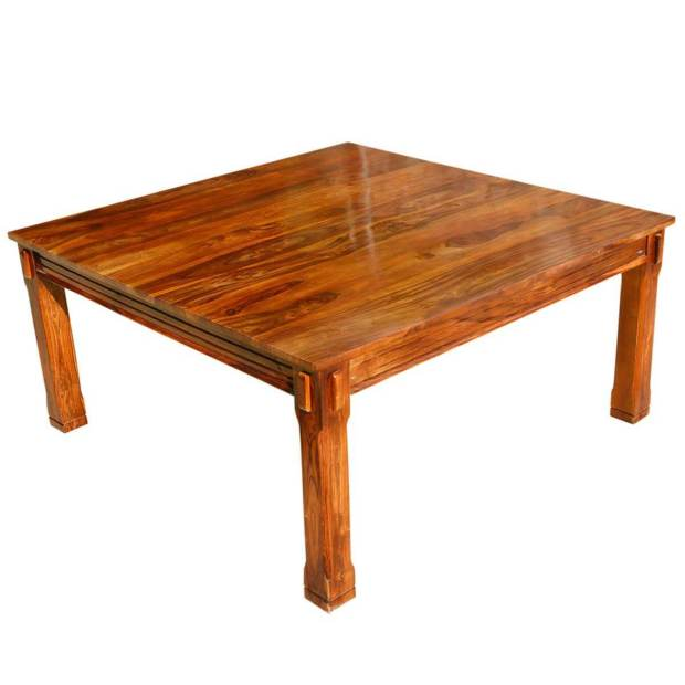 rustic solid wood square block dining table