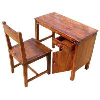 Solid Wood Student Writing Study Table Desk with Chair Set